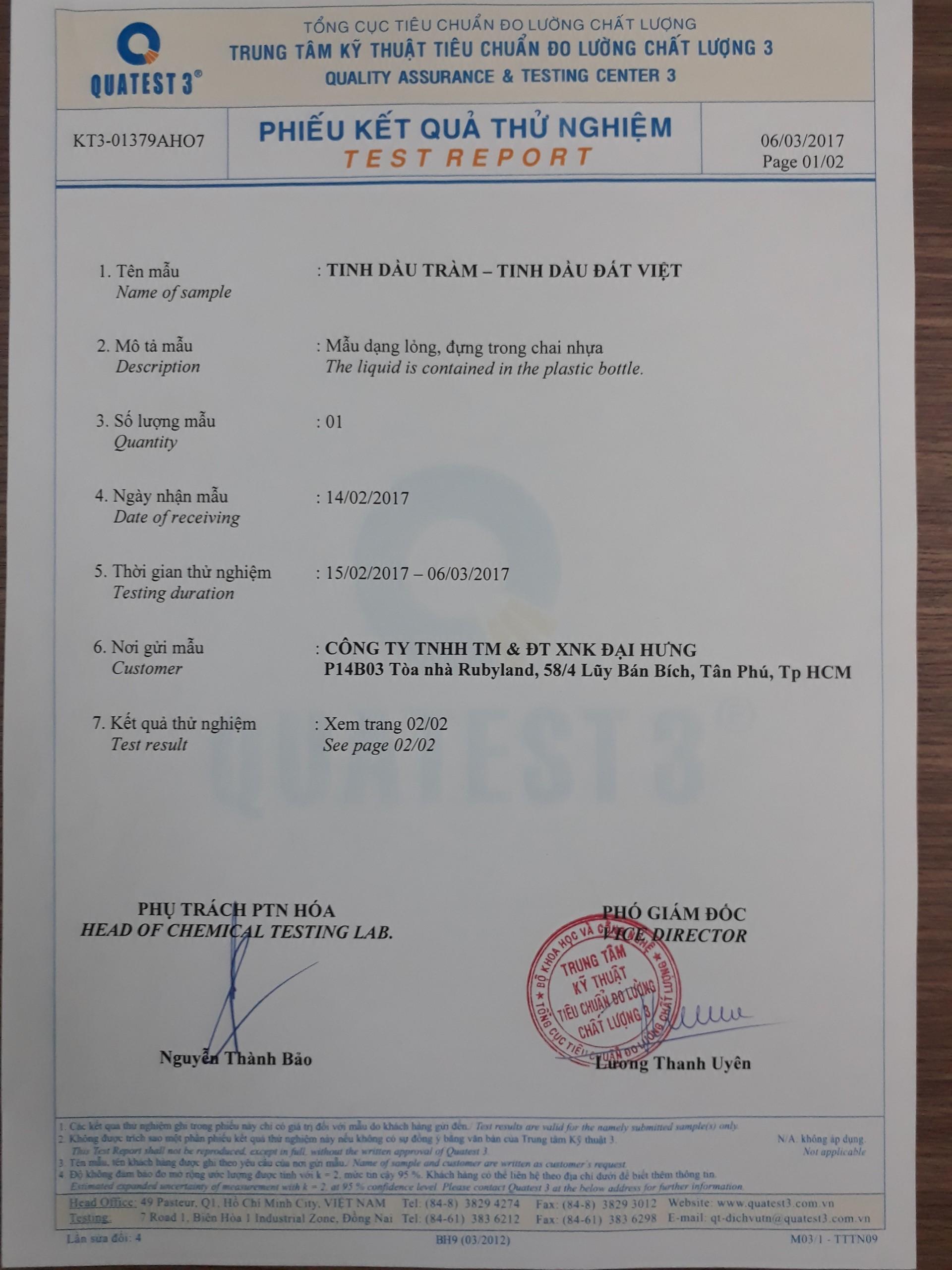 Phiếu kết quả thử nghiệm sản phẩm tinh dầu tràmđất việt - Ảnh 1